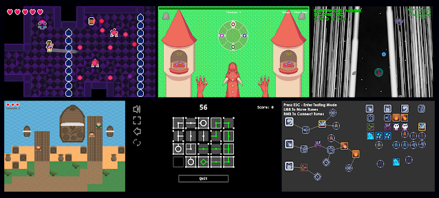 A collage of screenshots of game jam entries.