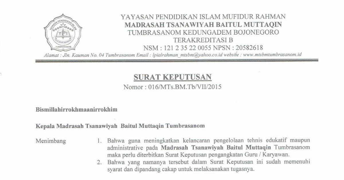 Contoh Sk Waka Kurikulum Mtss Baitul Muttaqin Tumbrasanom