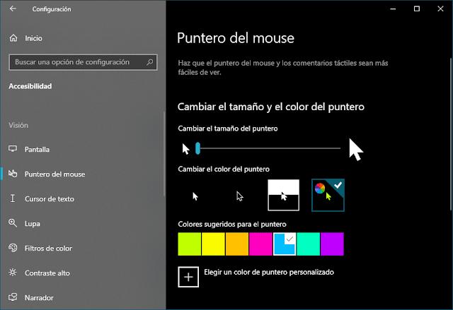 Personalización básica del puntero en configuración de Windows 10