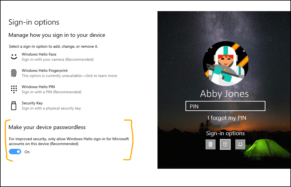 Go passwordless with Microsoft accounts on your device