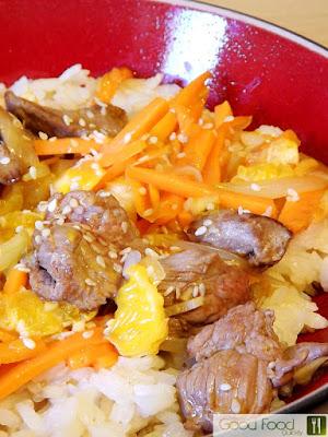 Carne de vițel cu orez și clementine