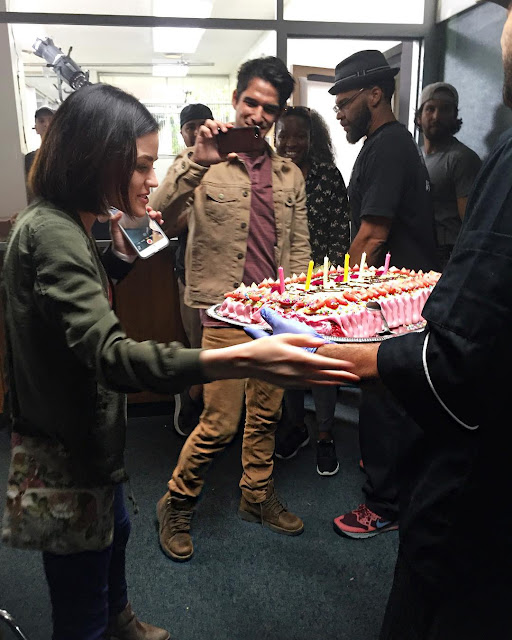 Lucy Hale celebrates her 28th birthday with cake on the set of her show 'Life Sentence'