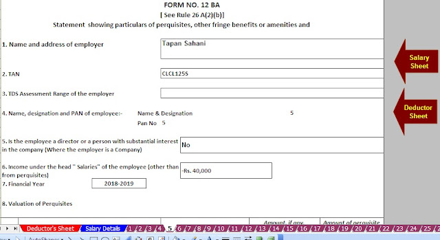 Download Automated All in One TDS on Salary Non-Govt Employees for the F.Y. 2019-20 with Automated H.R.A. Exemption Calculator U/s 10(13A) + Automated Revised Form 16 Part B and Form 16 Part A&B + Automated Value of Perquisite Calculator with Form 12 BA. 8