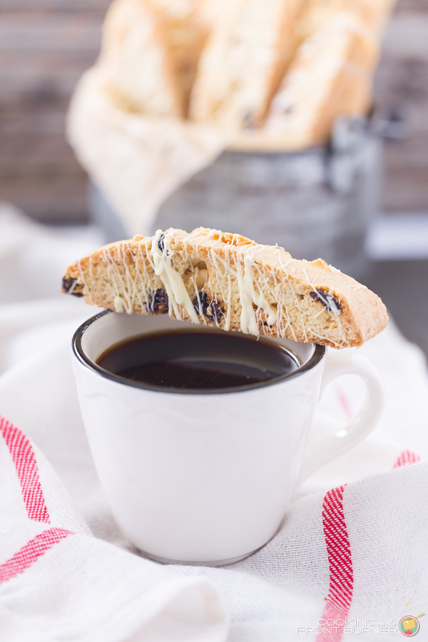... this White Chocolate Cherry Almond Biscotti with your morning coffee