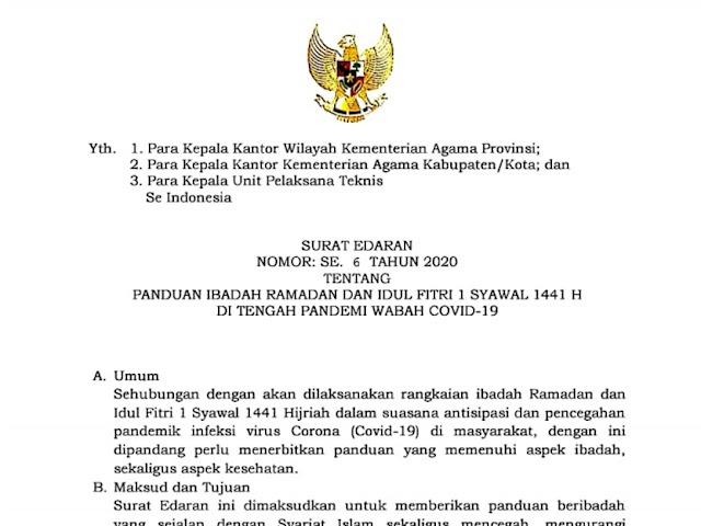 Surat Edaran Kemenag No. 6 tahun 2020  terkait Panduan Ibadah Ramadan dan Idul Fitri 1 Syawal 1441 H