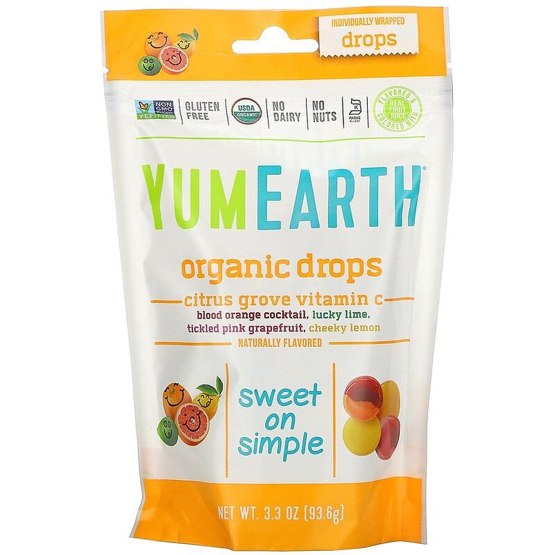 YumEarth, Органические леденцы с витамином С Citrus Grove, 93,5 г (3,3 унции)