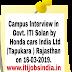 Honda Car Ltd Campus Placement Interview ITI Jobs Requirement