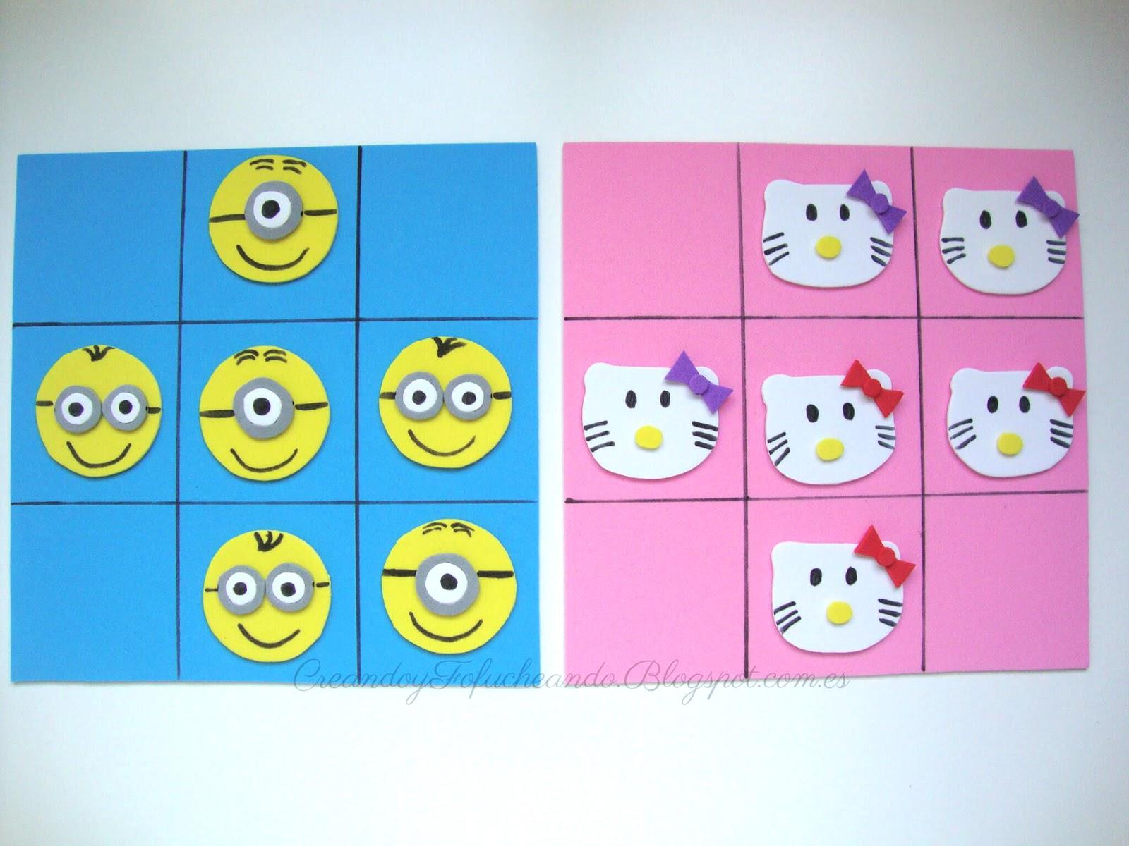 2 sencillos juegos de 3 en raya en goma eva creando y fofucheando for Juegos de hello kitty jardin