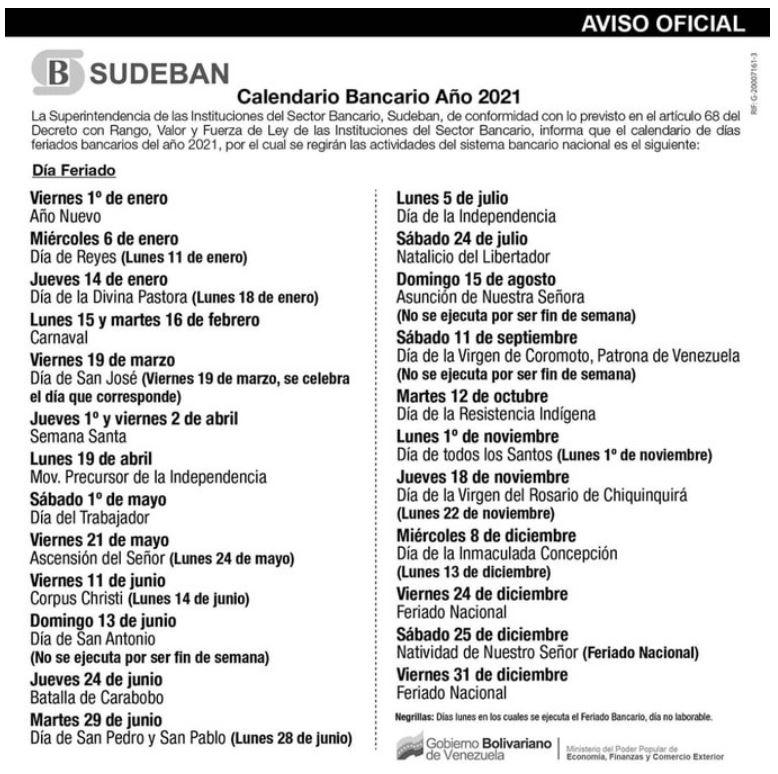 Calendario oficial bancario de Sudeban. Lunes bancarios. Días festivos de Venezuela en el 2021. Días feriados de Venezuela en el 2021. Calendario bancario de Venezuela 2021 Lunes-bancarios-Días-festivos-de-Venezuela-en-el-2021-Días-feriados-de-Venezuela-en-el-2021-Calendario-bancario-de-Venezuela-2021-Calendario-SUDEBAN-2021