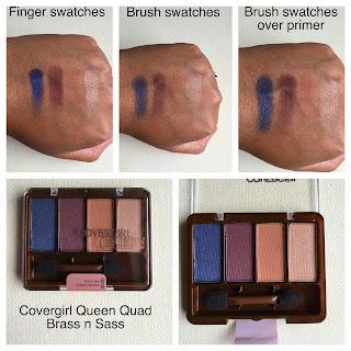 Covergirl Queen Eyeshadow Quad Brass n Sass swatches on dark skin