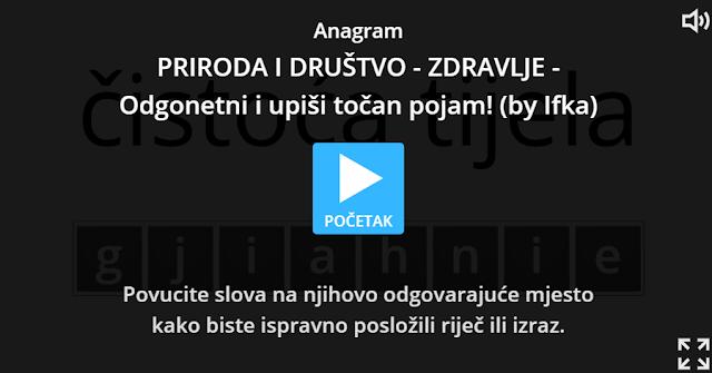 DIGITALNI ALATI - WORDWALL -PRIRODA I DRUŠTVO - ZDRAVLJE