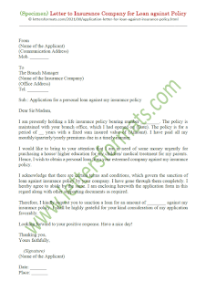 application letter for loan against lic policy