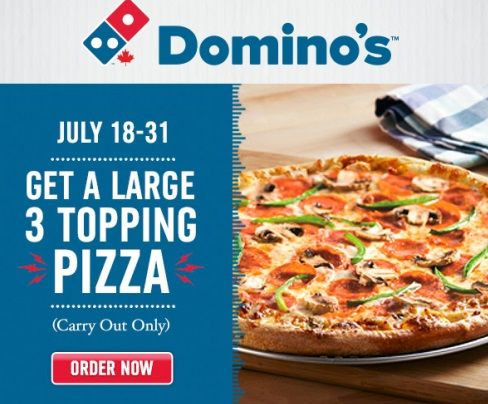 Dominos Large 3 Topping Pizza $9.99 Promo Code
