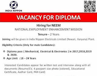 Diploma Job Vacancy In India Nippon Electricals Limited (Rewari, Haryana) Plant Walk In Interview