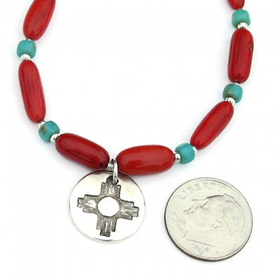 southwest zia sun necklace with red and turquoise