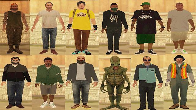 GTA 5 Characters Skin Pack GTA San Andreas Mod