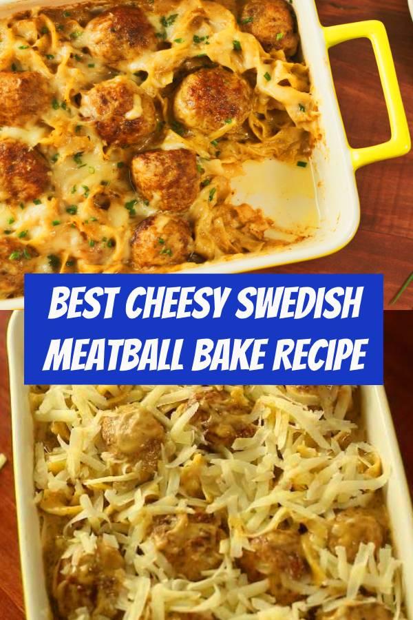 Cheesy Swedish Meatball Bake Recipe | Swedish meatballs, say cheese! #meatballs #swedish #dinner #comfortfood