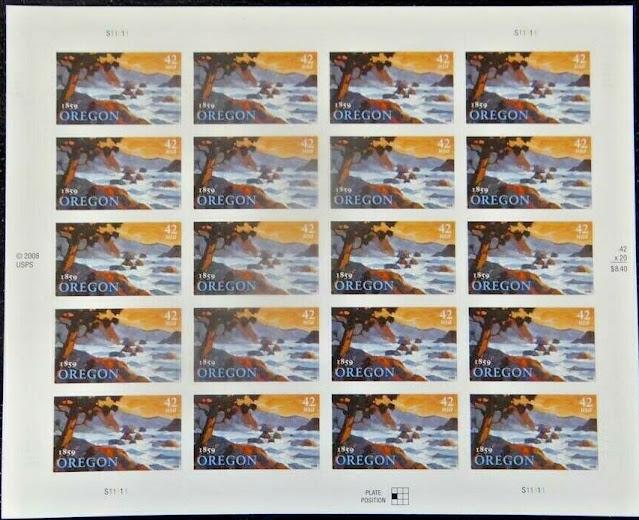 Oregon Statehood Mint Sheet