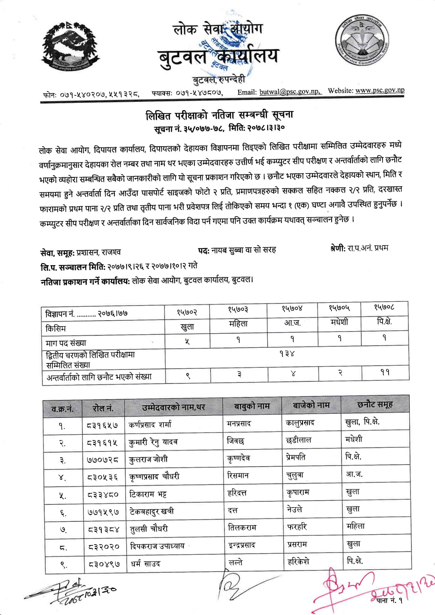 NASU Revenue - Dipayal Lok Sewa Aayog Written Exam Result & Exam Schedule