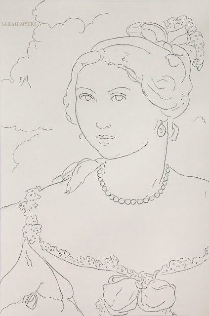drawing, art, arte, contemporary, sarah, myers, charcoal, simple, style, line, line-drawing, face, fashion, style, dibujo, pearls, ruffles, bows, clouds, portrait, woman, lady, human, figurative, modern, ultracontemporary, sketch, design