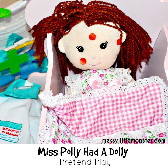 Miss Polly nursery rhyme pretend play activity for toddlers preschoolers eyfs