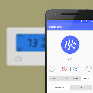Homeboy's thermostat control screen appears on an Android phone. An Insteon thermostat is visible in the background.
