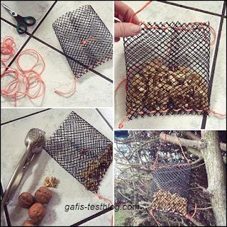 Nussspender-/ Nussbeutel für Vögel basteln