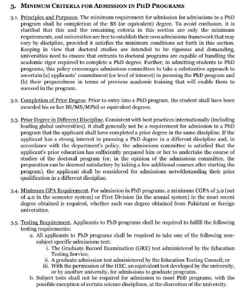 HEC New Policy about Admission in Ph.D Program