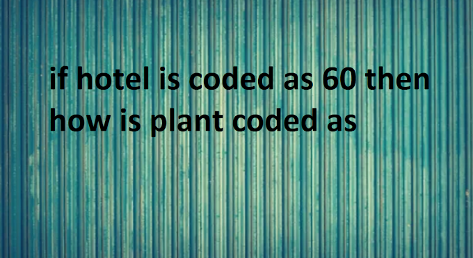 if hotel is coded as 60 then how is plant coded as