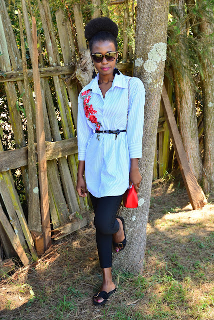 How To Wear Pinstripe Shirtdress and Some Simple Hair Tips