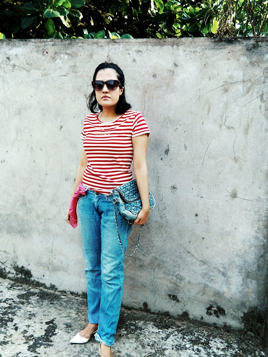 Mango womens Red Stripe T-Shirt , Levi's womens Blue Denim, Zara White Slingback heels,pinkwomensscark,indianstyleblogger