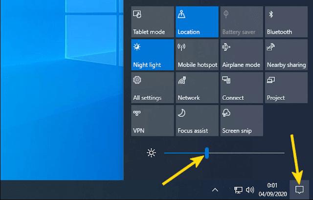 Cara Mengatur Cahaya Laptop Melalui Action Center