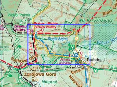 Wycinek mapy Kampinoski Park Narodowy wydawnictwa Compass (2019), na której naniesiono przebieg żółtej ścieżki