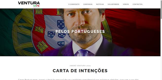PÁGINA NA INTERNET DO CANDIDATO ANDRÉ VENTURA