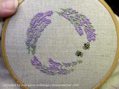 Completed embroidery for pincushion showing lots of bullions