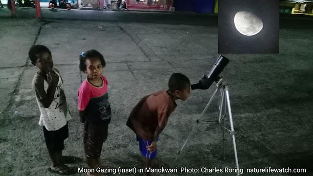 children were enjoying moon watching