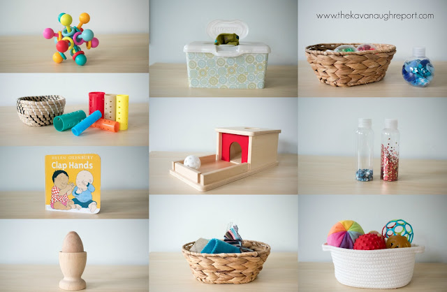 Montessori friendly toys and DIYs for 8-month-olds. These materials are perfect for Montessori babies at home.
