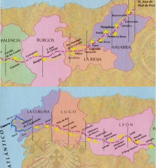 camino santiago ruta jacobea ciudades provincias
