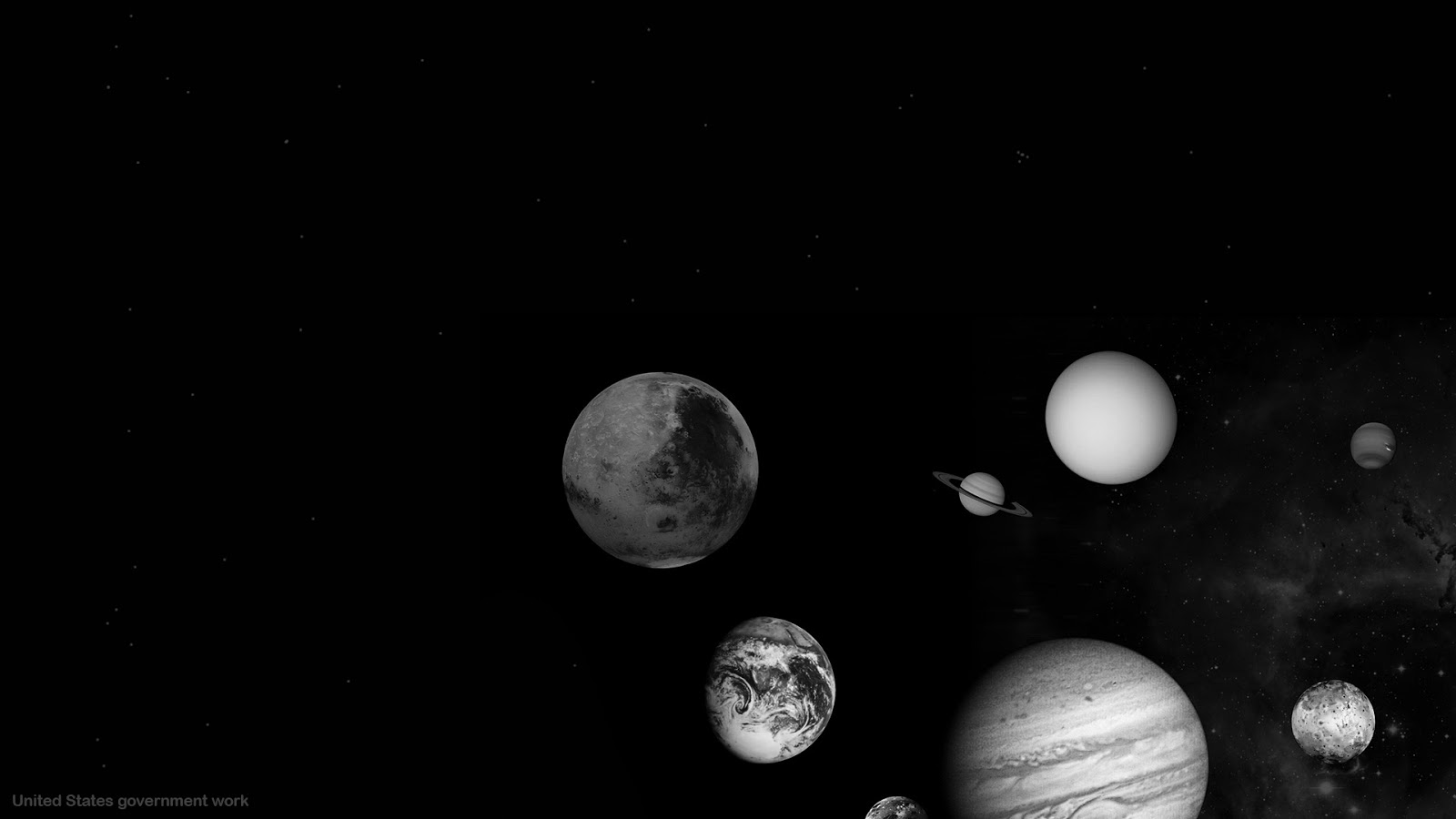 Black and white space backgrounds showing our solar system planets