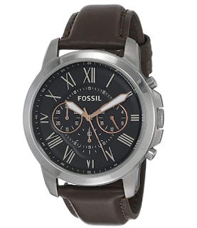 $77.40 BUY     Fossil Men's Grant Stainless Steel Quartz Chronograph Watch Temporarily out of stock.  We are working hard to be back in stock as soon as possible. Imported Fossil is inspired by American creativity and ingenuity. Bringing new life into the watch and leathers industry by making quality, fashionable accessories that are both fun and accessible. The Grant collection is always in style thanks to its time-honored design. This season we're updating it with modern roman numeral markers and materials like stainless steel and soft leathe . The result? A watch you'll wear for years to come. Case size: 44MM; Band size: 22MM; Quartz/Chrono movement; hardened minderal crystal lens; imported Attachment Material/Color: Genuine Leather/Black; Closure type: Strap Buckle; Interchangeable with all Fossil 22MM bands Water resistant to 165 feet (50 M): suitable for short periods of recreational swimming and showering, but not diving or snorkeling Customize your watch with complimentary engraving at a local Fossil store. Engraving is available at participating U.S. and Canadian full-priced and outlet Fossil stores. This service is not applicable on all accessories.             Product description If classic is your choice, our one-of-a-kind Grant is a wrist essential you can rely on. New materials and accents make this timepiece stylish enough for formal occasions, but built to withstand everyday use. This season, the traditional leather Grant evokes a sunny outlook with navy blue and rose dial pops. Topped with a shiny rose gold tone case and chronograph movement, it's an all-around favorite for the season. Modeled after vintage clocks, our Roman numerals are uniquely designed to provide artistic balance to the dial. In order to create a sense of depth, we also layered the sub-eyes over the numerals, which gives them the effect of being cut off.   Product details Is Discontinued By Manufacturer  :  No Product Dimensions  :  5.91 x 5.91 x 5.91 inches; 2.7 Ounces Item mode