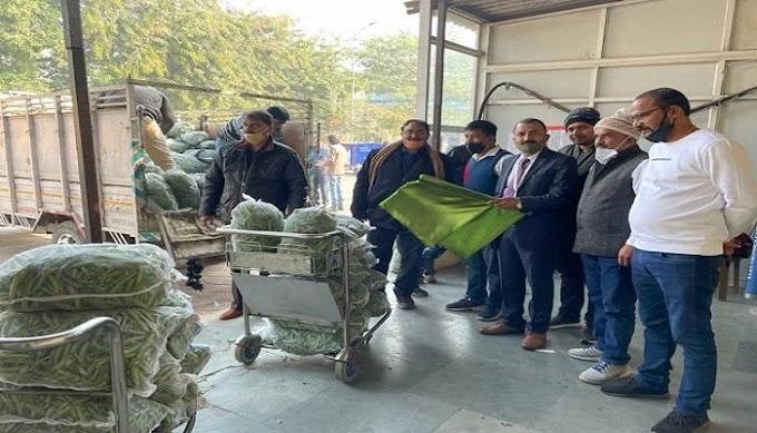 गाजीपुर: शिवांश कृषक प्रोड्यूसर कंपनी ने दुबई भेजी गई करइल की 160 बैग हरी मटर