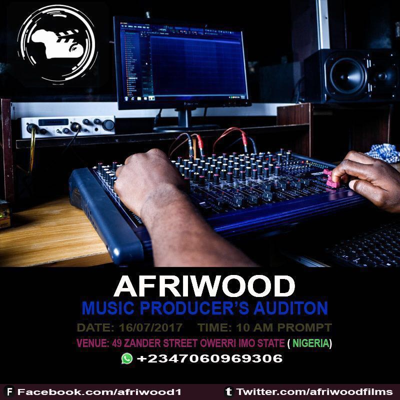 Free Open Auditions for Music producers by Afriwood entertainment company