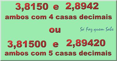Números decimais quaisquer sempre podem ser representados com o mesmo número de casas depois da vírgula