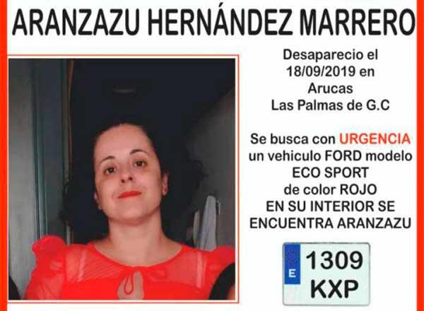 Se busca en Arcas a Aranzazu Hernández Marrero, mujer desaparecida  miércoles 18 de septiembre