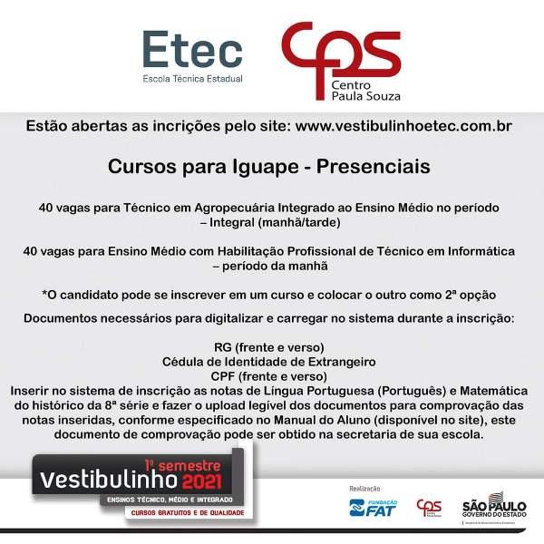 Vestibulinho ETEC Iguape