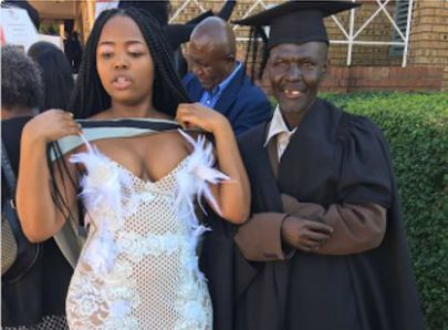 Lady celebrates dad who is a security guard as she graduates