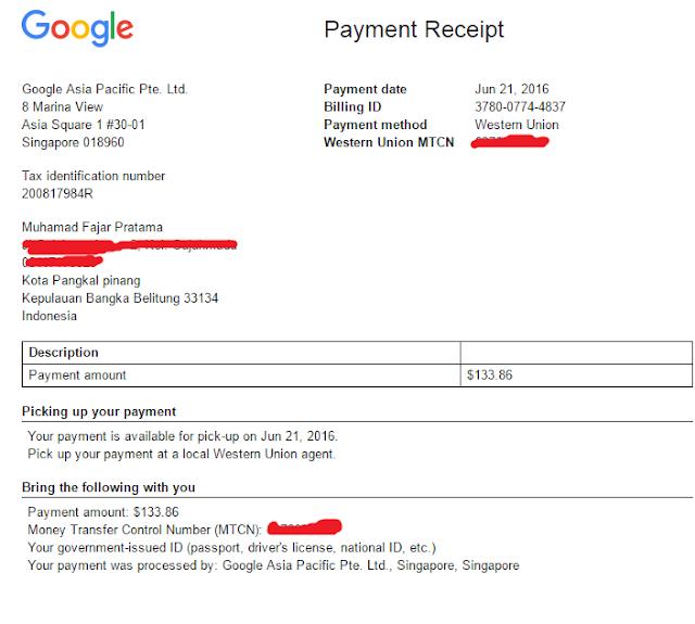 bukti pembayaran google adsense juni 2016