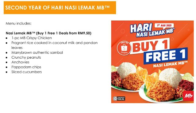 Marrybrown Nasi Lemak Buy 1 Free 1 Deal - Shopee Full Menu