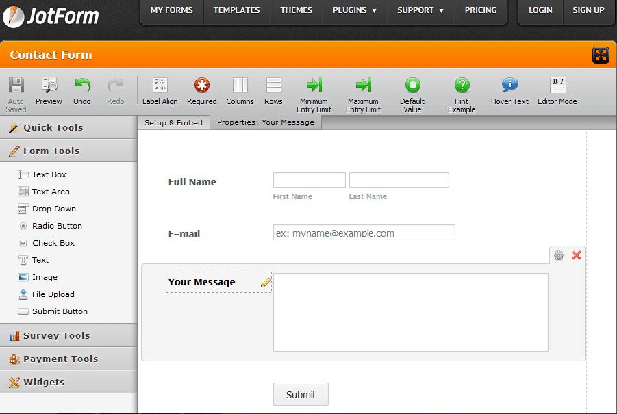 Jot Form- Online form builder tool