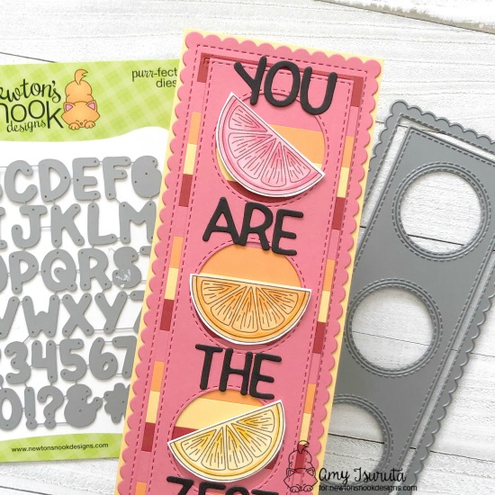 Citrus Slimline card by Amy Tsuruta  | Lemon Twist Stamp Set, Slimline Frames & Portholes Die Set and Essential Alphabet Die Set by Newton's Nook Designs #newtonsnook #handmade